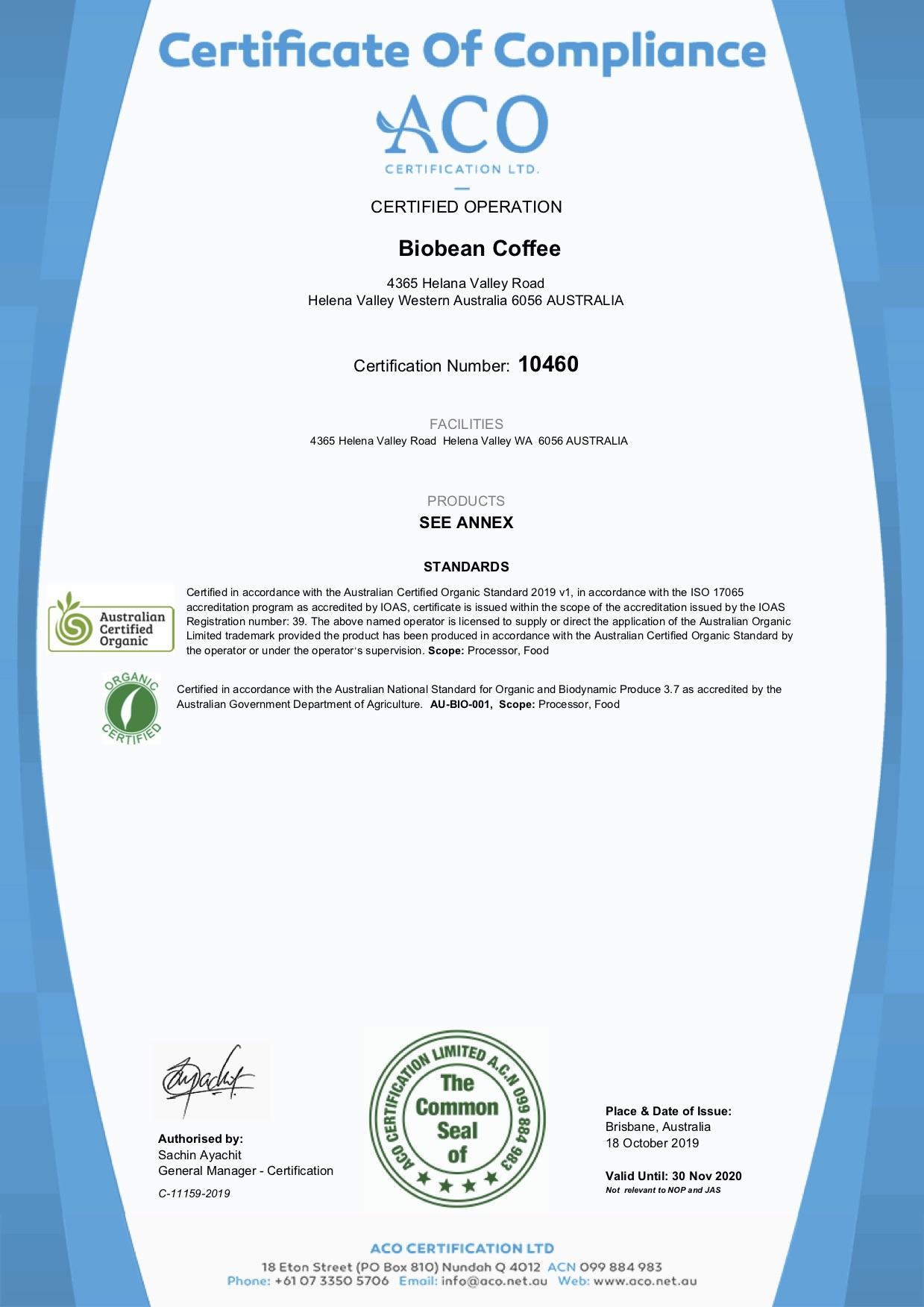 ACO 2020 certificate